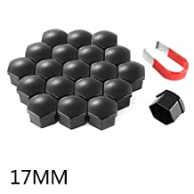 XCSOURCE 20pcs 17mm Universal Plastic Bolts Covers Nut Protector Black and Removal Tool for Cars Vehicles Wheel Tyre MA775