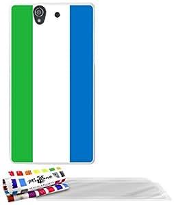 """MUZZANO cubierta suave de forma exclusiva ORIGINAL Blanca SONY XPERIA Z alta calidad-Slim Ultra Sierra Leona Bandera 3 Protectores de pantalla transparente """"UltraClear"""" PEN 1 y 1 PAÑO MUZZANO OFRECIDOS"""