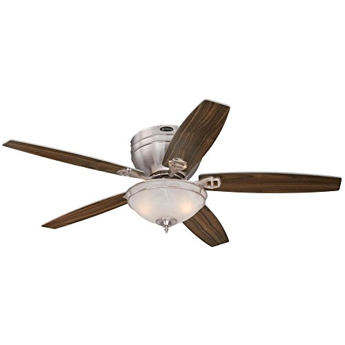 Westinghouse 7200100 Carolina Two-Light 52 Reversible Five-Blade Indoor Ceiling Fan, Brushed Nickel Finish with White Alabaster Glass Bowl