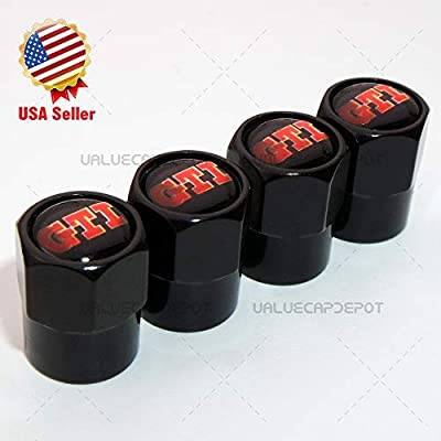UATUO Universal Hexagon Shape for GTI Logo Emblem Car Wheel Tire Air Valve Cap Stem Dust Cover (Black): Automotive