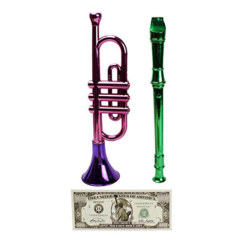 Little Flute (Toy Trumpet and Flute Recorder Musical Instruments, with Non-Negotiable Statue of Liberty Million Dollar Bill (3 Piece Bundle))