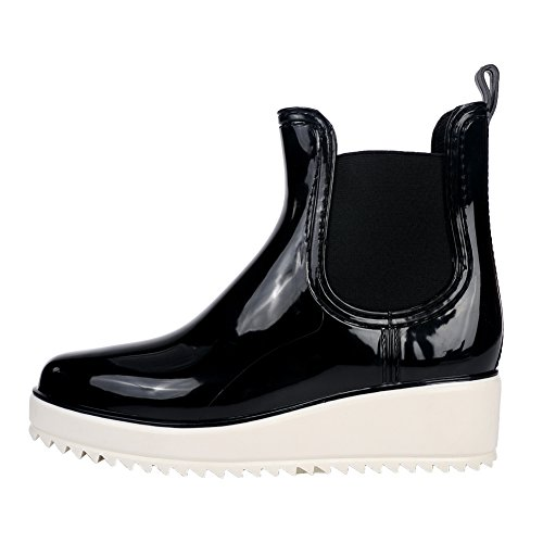 fereshte Women's Martens Boots Waterproof Pull On Thick Heel Ankle Rain Boots Black and White MXx22