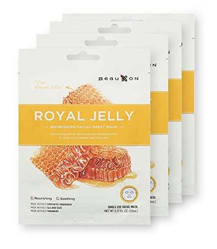 BeauKON Royal Jelly Honey Nourishing Facial Sheet Mask with Propolis, Korean Daily Face Mask, Nourishing and Soothing (4 Pack)
