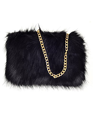 Faux Womens Fur Fluffy Clutch Black Chain Runway With Feather wq4vA