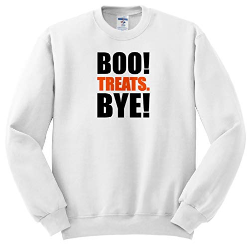 Carsten Reisinger - Illustrations - Boo. Treats. Bye. Funny Halloween Design - Sweatshirts - Adult Sweatshirt Large (ss_294713_3) -