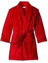 Komar Kids Boys' Big Boys' Velvet Fleece Solid Robe, Red, Kids Size 6