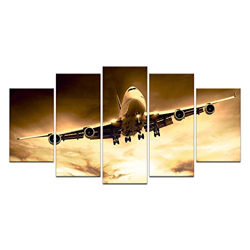 sechars - 5 Piece Large Canvas Painting Wall Art Airplane Flying at Sunset Picture Print on Canvas Vintage Aircraft Poster Stretched and Framed for Living Room Bedroom Decor Ready to Hang