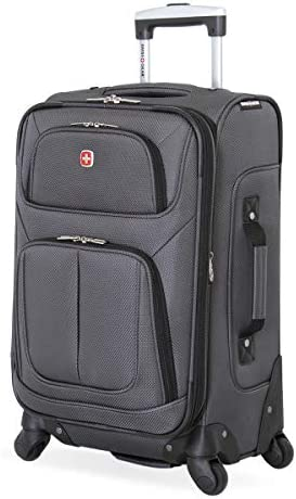 SwissGear Sion Softside Luggage with Spinner Wheels, Dark Grey, Carry-On 21-Inch