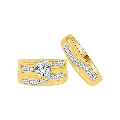 14k Yellow Gold White Rhodium, Trio 3 Piece Wedding Rings Set Round Created CZ Crystals 1.0ct by GiveMeGold