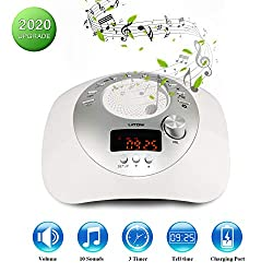 White Noise Sleep Machine,Sleep Machine with 3 Auto-Off Timer,Built-in Electronic Clock & Memory,Portable Sleep Sound Therapy for Baby, Kids, Adults, Travel, Office & Home ...