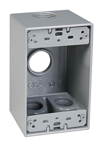 Taymac SD475S Weatherproof Box, 1-Gang, (4) 3/4-Inch Outlets, Deep, Gray (Gang Weatherproof Single Box)