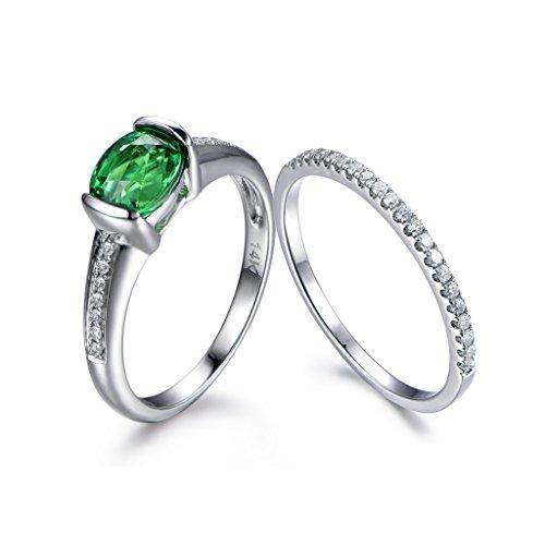 MYRAYGEM-wedding ring sets Natural Green Tsavorite Ring Set,5x7mm Oval Cut Gem Stone Half Eternity Diamond Wedding Promise Band Sets