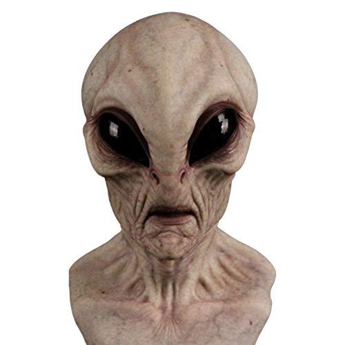 penta Mascara de Alien de Halloween, Mascara de Miedo de Halloween 3D Tocado de latex Realista Mascarada de Halloween Disfraz de Cosplay Accesorios de Fiesta para Adultos