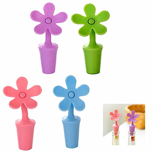 - ISKYBOB Set of 4 Wine Stopper,Flower Shape Silicone Wine Bottle Stopper for Wine Champagne Beverage Beer