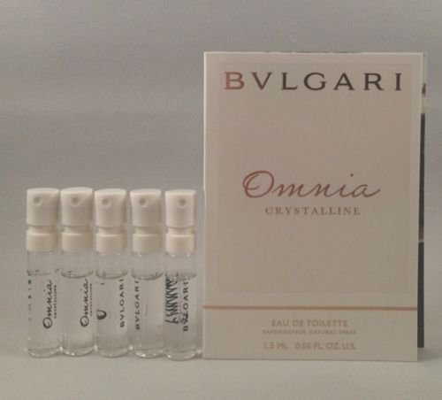5 Bvlgari Omnia Crystalline EDT 1.5 Ml/.05 Oz Spray Sample Travel Vial Lot for Women ()