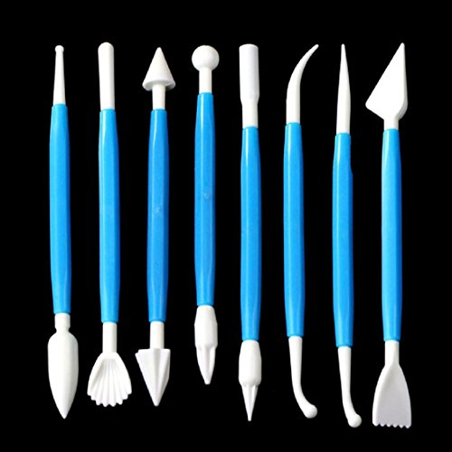 Ikevan 8 Pcs Kit sugarcraft Fondant Cake Decorating Modelling Tools Flower (Blue)