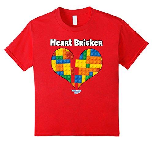 Kids Valentines Shirt For Boys Heart Bricker (TM) Blocks Brick 8 Red