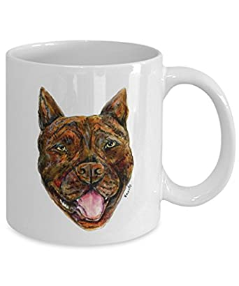 Brindle Pit Bull Dog Mug - Style No.7 - Cool Ceramic Pitbull Coffee Cup (11oz)