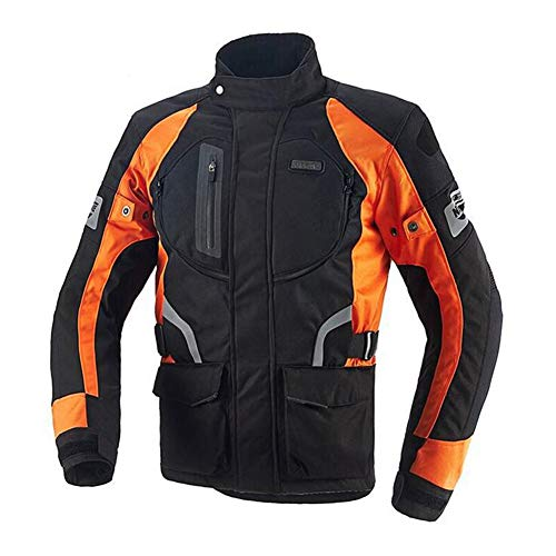LCHENX-Motorbike Jackets, CE Armor, Waterproof Motorcycle Jacket for Men and Women(Orange),XL