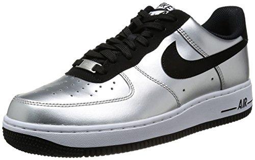 - NIKE Men's Air Force 1 Metallic Silver/Black/White Basketball Shoe 10.5 Men US