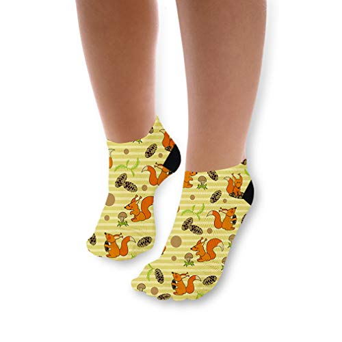 - Playful Squirrels On Yellow Pattern Unisex Toddler Baby Ankle Socks Funny Novelty Kids Socks Polyester & Polyester Blend - 3 Pack