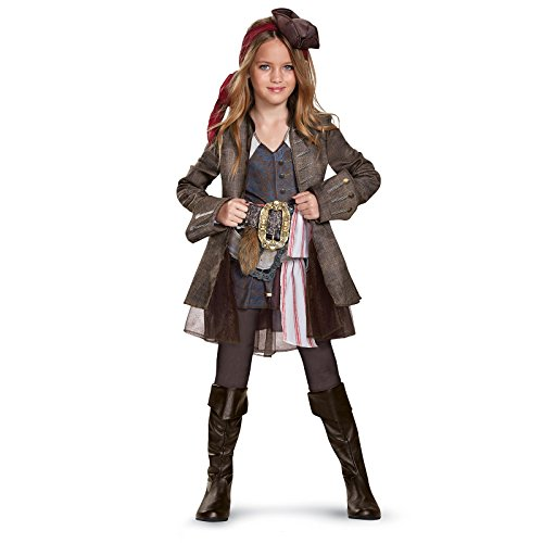 Disney Pirates Caribbean Jack (Disney POTC5 Captain Jack Sparrow Girl Deluxe Costume,  Multicolor,  Medium (7-8))