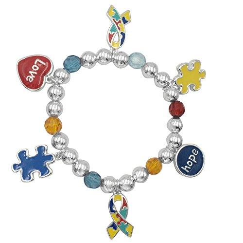 ti Color Puzzle Piece Charm Dangle Stretch Bracelet (Silver Tone) ()
