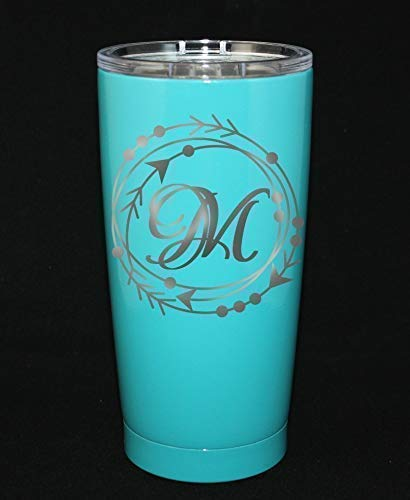 Personalized Powder Coated Tumbler. Engraved Triple Arrow with Initial. Customize the size, color and, initial. Perfect for gift giving. (Arrow Designs Sierra)