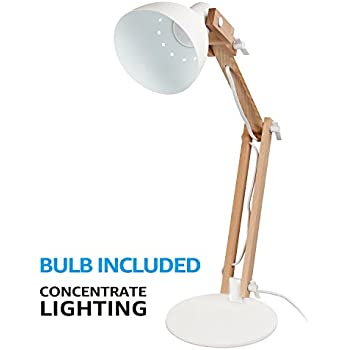Natural Wood Swing Arm Desk Lamp, Integrated LED Table Light, Heavy Base, 5W (50W Equip.), 4-Level Dimmer, 2800K-3000K Warm White, Decors for Reading Study Studio Office Bedside Nightstand, White