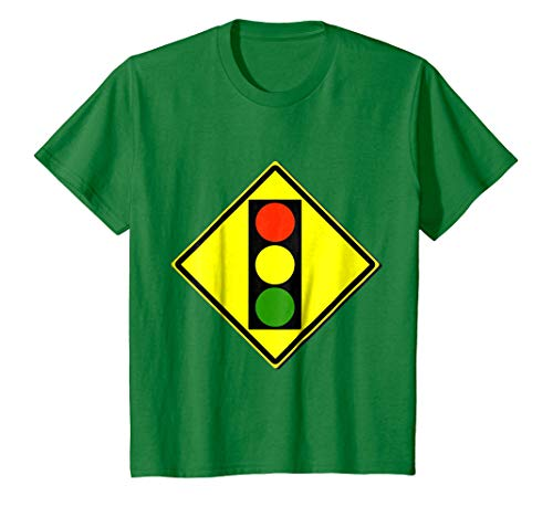 Kids Traffic Light Ahead Sign Simple Halloween Costume T-Shirt 4 Kelly Green ()