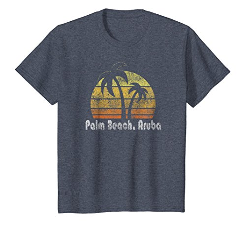 Kids Retro Palm Beach Aruba T-Shirt Palm Beach Shirt 12 Heather Blue