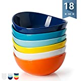 Sweese 1102 Porcelain Bowls - 18 Ounce for Cereal, Salad, Dessert - Set of 6, Hot Assorted Colors