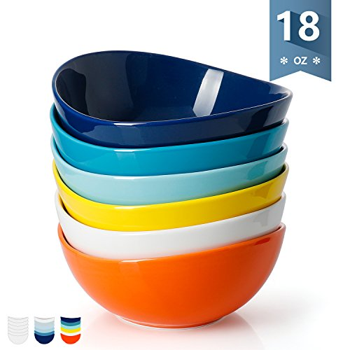 - Sweese 1102 Porcelain Bowls - 18 Ounce for Cereal, Salad, Dessert - Set of 6, Hot Assorted Colors