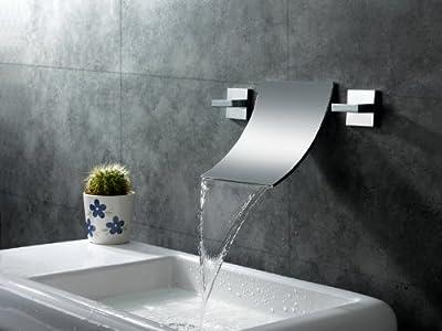 Sumerain International Group Double Handle Wall Mount Waterfall Bathroom Sink Faucet