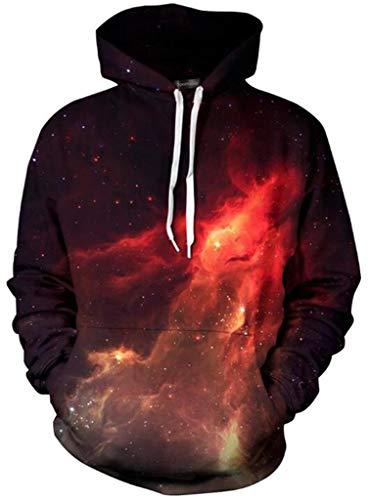 - Sportides Unisex Boy Girl Realistic 3D Digital Print Pullover Hoodie Hooded Fleece Sweatshirt LYM004_Red_L/XL