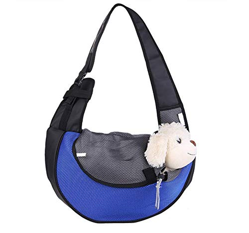 Eyiou Portable Travel Pet Carrier, Soft Sided Tote Carrier for Small Pets, Dog Handbag Dog Purse for Outdoor Travel Walking Hiking (L, Blue)