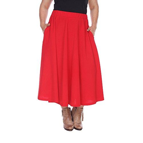 Full Skirt Pleats Skirt - White Mark Women's Plus Size Tasmin Flare Midi Skirt 2XL Red