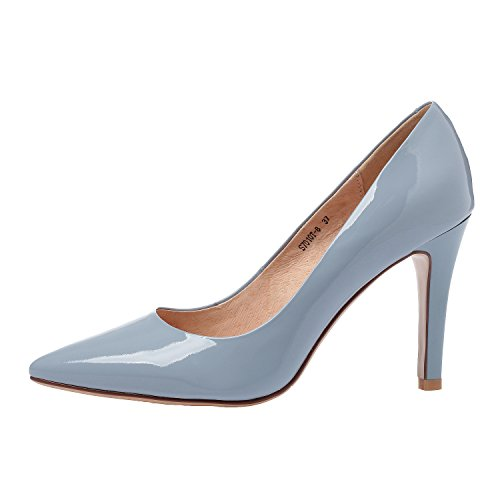 Shoes Woman ZAPROMA Leather High Pointed Pumps Heel Blue Shoes Toe wfqdUqn684