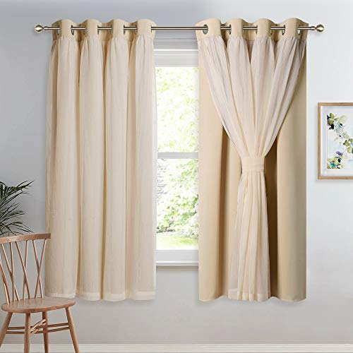 Double Layers Light Blocking Mix & Match Beige Crushed Voile and Blackout Curtains with 4 Tie-Backs for Bedroom Window, Cortinas para Sala (Set of 2, W52 x L63, Biscotti Beige)