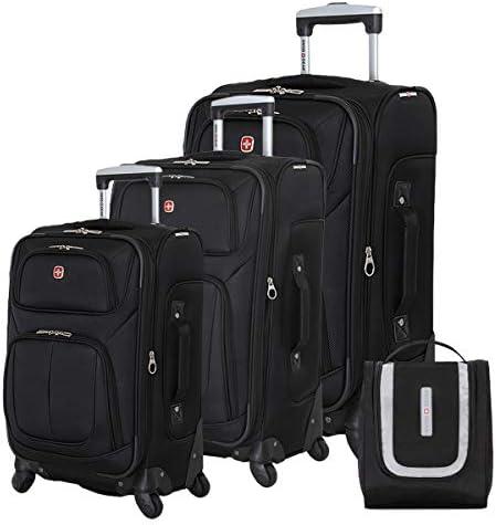SWISSGEAR 6283 Amazon Exclusive Premium 3pc Spinner Luggage Set with Dopp Kit Bundle – Black