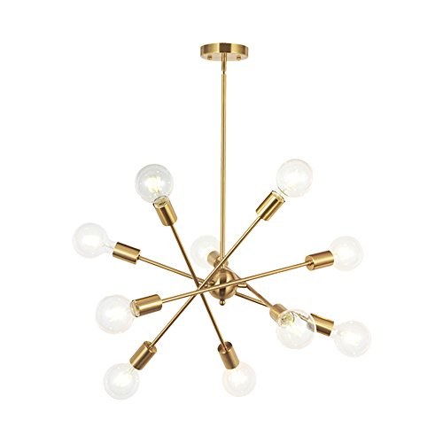 Modern Sputnik Chandelier Lighting 10 Lights with Adjustable Arms Mid Century Brushed Brass Pendant Lighting for Foyer Living Room Kitchen Lighting by BONLICHT