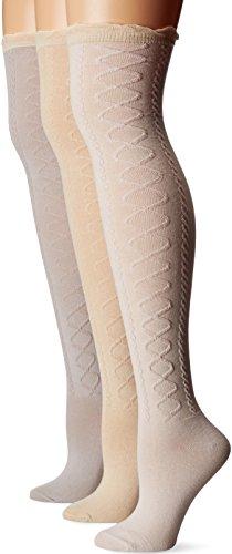 Muk Luks Women's 3 Pair Pack Lace Texture Over The Knee Socks, Multi, ()