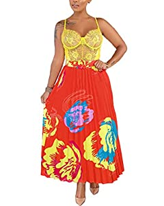 ThusFar Women's Graffiti Pleated Skirts Cartoon Printed Elastic Waist A-Line Swing Midi Skirt