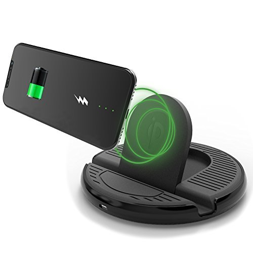 YIJINSHENG Car Wireless Charger Stand Charging Mount for iphone X /8/8Plus,Samsung Galaxy S8 Edge/S7 Edge/S6 Edge Cell Phone Stand Qi Charger, 2 in 1 Anti-skid Pad Phone Bracket Charger Mat