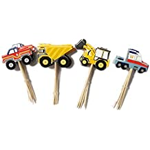 YunKo 24pcs Truck Excavator Dumpers Car Fun Cake Decorative Toppers Cupcake Decorating Tools for Party