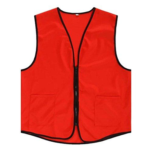 TopTie Supermarket Vest/Apron Zipper Vest for Clerk Uniform Vest, RED, S