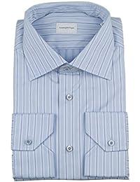 Milano Blue Striped Cotton Dress Shirt Size 40/15.75