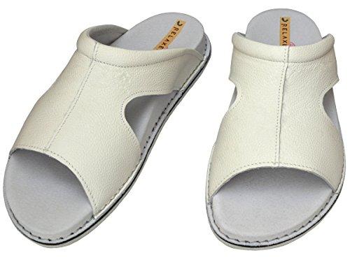 Relaxen - Zapatillas de estar por casa de Piel para mujer Weiß