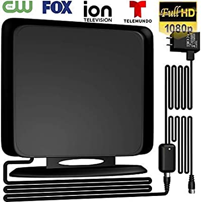 Coolmade 120Miles Directional TV Antenna - Indoor/Outdoor Amplified HDTV Antenna for TV Signals High Reception Digital TV Antenna for 4K/VHF/UHF/1080P Free Channels 13ft Coax