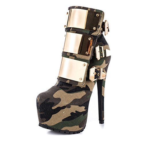 High TLJ Metallschnalle KJJDE Stiefel Camouflage 07201 Damen Booties Pumps Heels 40 Party Pailletten EInqHwq1p